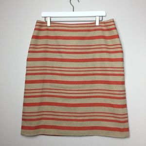 TALBOTS Orange Striped Linen Blend Skirt Size 16